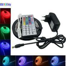 IP65 5m RGB smd led strip light 30Leds/m SMD 5050 Waterproof RGB Led Strip Light 44Key IR Controller DC12V 36W Power Adapter(China (Mainland))