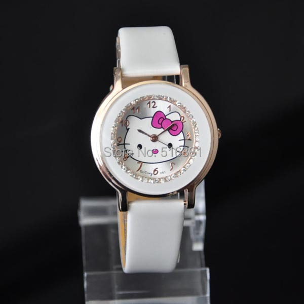 Hello Kitty Fashion Quartz Watches Leather Children's Cartoon Watch Casual Student Wristwatches New(China (Mainland))