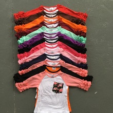 new half free shipping ruffles baby girls clothes o-neck girls casual tops 13 color in stock Autumn top icing raglans t shirt(China (Mainland))