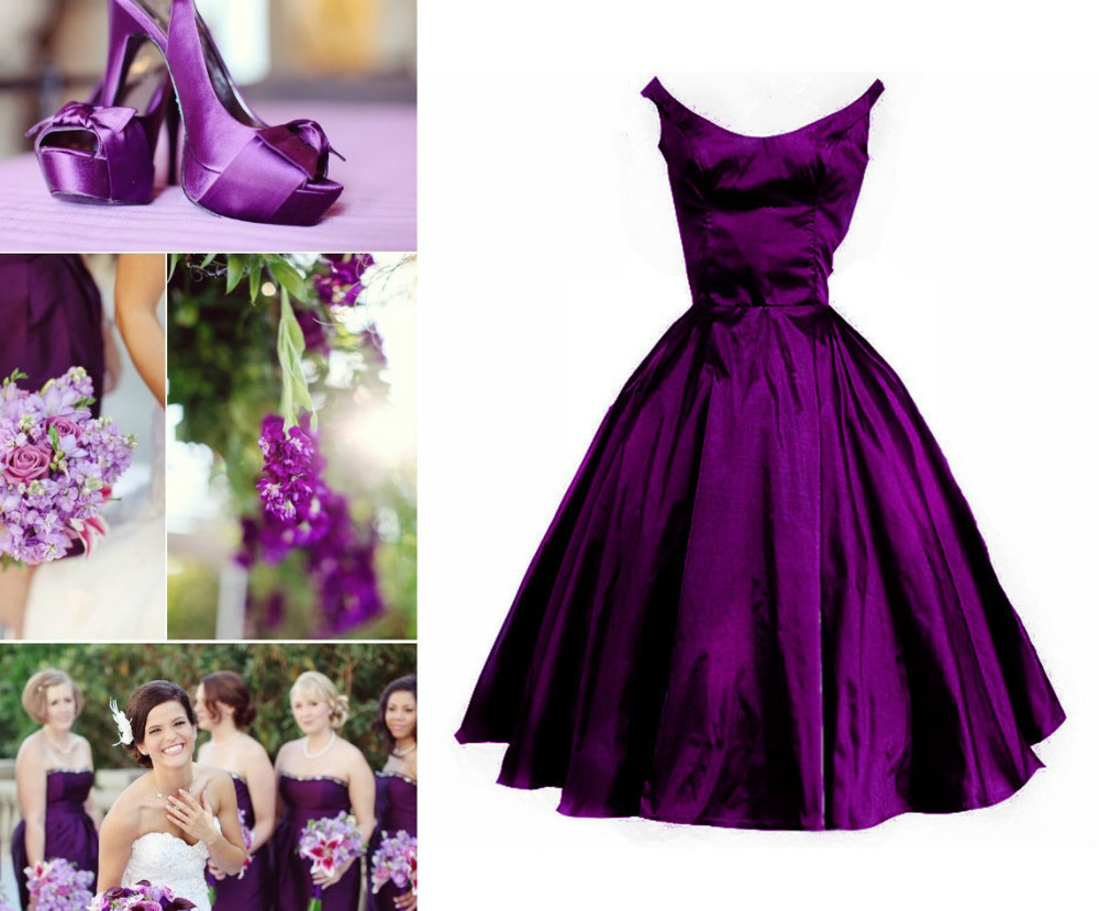 Custom Make Plum Purple Vintage Puffy Bridesmaid Dress Wedding Party Dress Custom Color Custom