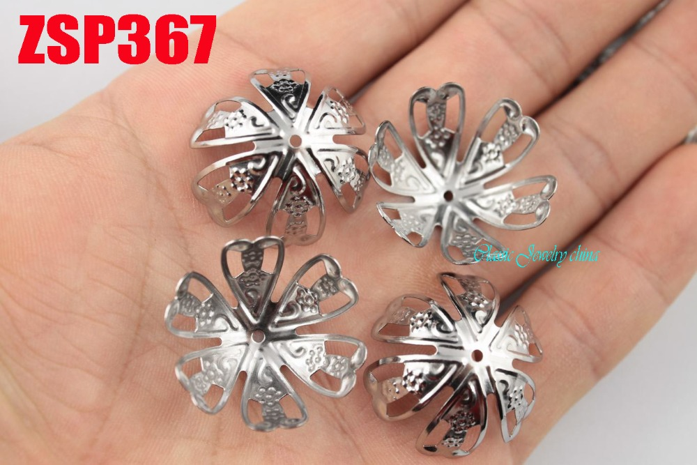 25mm 100% stainless steel big bead cap cinquefoil  fashion jewelry parts earring Components 200pcs ZSP367<br><br>Aliexpress