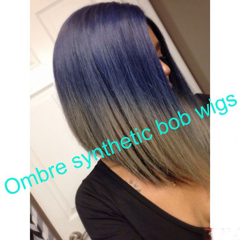 Two-tone ombre synthetic lace front bob wigs short hair blue gray heat resistant black women - Queen Hair Wig Co.,Ltd store