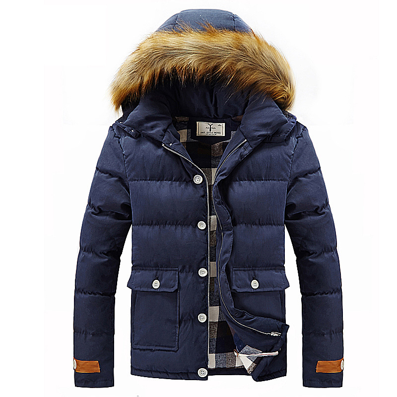 Parka Homme Winter Jacket Men 2016 Fashion Design Big Fur Hooded Mens Slim Puffer Brand Stylish Windbreaker Coat Male - Fuland store