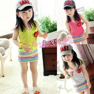 Children's clothing 2013 female child summer stripe sleeveless vest one-piece dress - low profit store