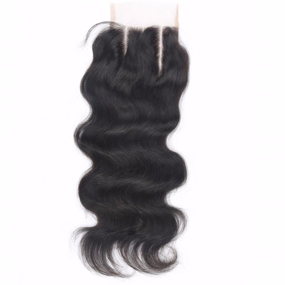 Cheap 7A Brazilian Virgin Human Hair Closure Middle Part 4*4 Inch Brazilian Body Wave Lace Closure Bleached Knots(China (Mainland))