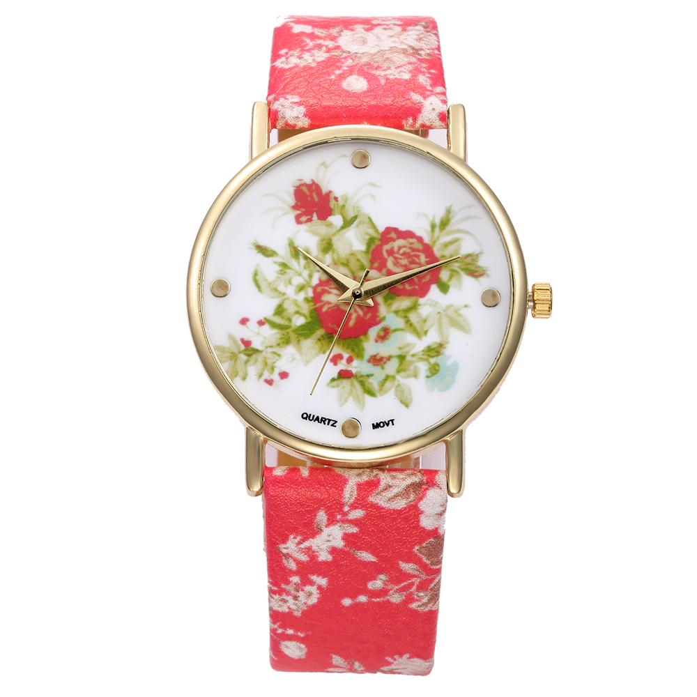 Glass Analog Quartz Round Gold Alloy dial Watches fashion Pastoral style Flower Pattern leather strap buckle Wristwatches RDa06 - Coo Trade Co. Ltd. store