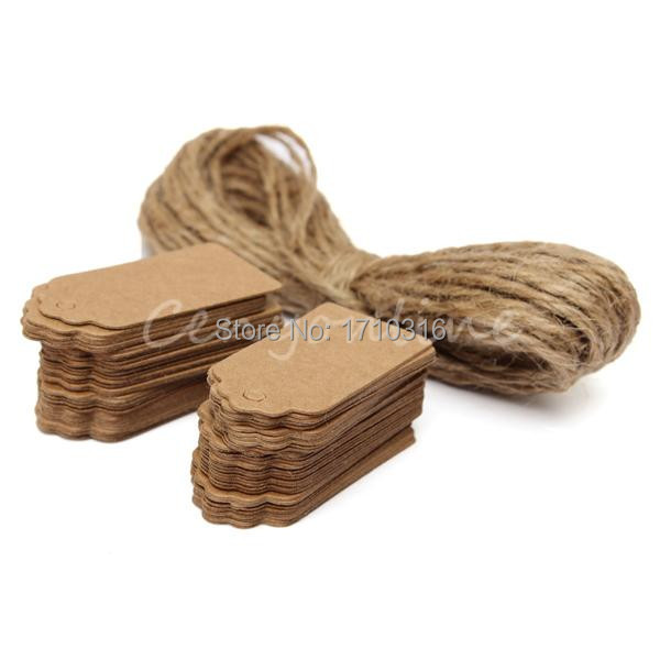 2015 Newest 100X Brown Kraft Paper Tags Lace Scallop Head Label Luggage Wedding Note +String DIY Blank price Hang tag Kraft Gift(China (Mainland))