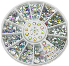 5 Sizes 400 Pcs Nail Art Tips Crystal Glitter Rhinestone 3D Nail Art Decoration Wheel