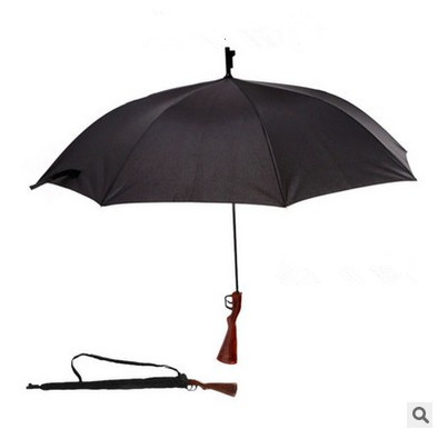 Free shipping New Super Rifle umbrella Straight Black Rain umbrella creative new Pistol grip umbrella(China (Mainland))