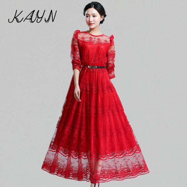 Brand Women Clothing Vestido Longo Plus Size Red Elegant Ladies Long Sleeve Lace Ankle-Length Dress - KAYN Boutique store