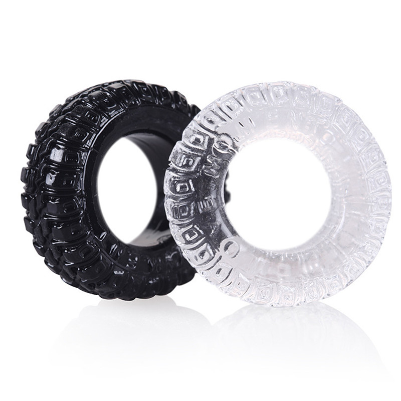 2 Pcs/Set Silicone Tire Penis Ring Delayed Ejaculation Cock Rings Sex Cockring Adult Products for Male B2-2-6