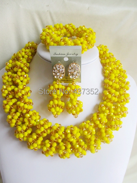 Latest Mixed Opaque Yellow Gold Champagne Ball Women Stylish Crystal Bead nigerian wedding african beads jewelry set ABD125<br><br>Aliexpress