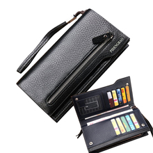 Hot New Brand Design zipper Fashion black genuine leather men wallets long casual brown purse cartera hombre carteira masculina(China (Mainland))