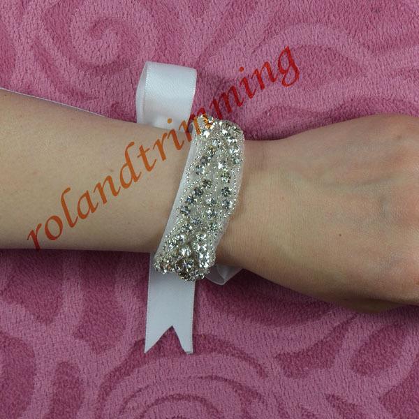 free shipping 2016 new bridal wedding crystal rhinestone chain stretch bracelet wristband ray28(China (Mainland))
