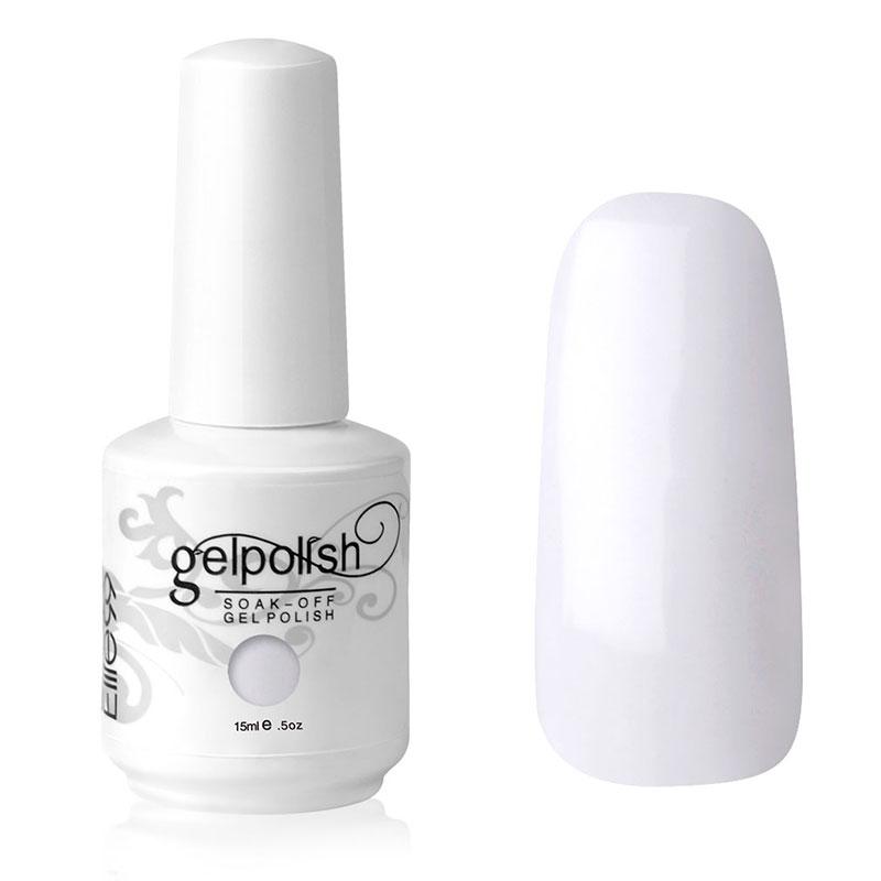 Elite99 15ml Gelishgel French White Color UV LED Soak Off Gel Nail Polish French Tips Top Base Coat 1323 UV Curing(China (Mainland))