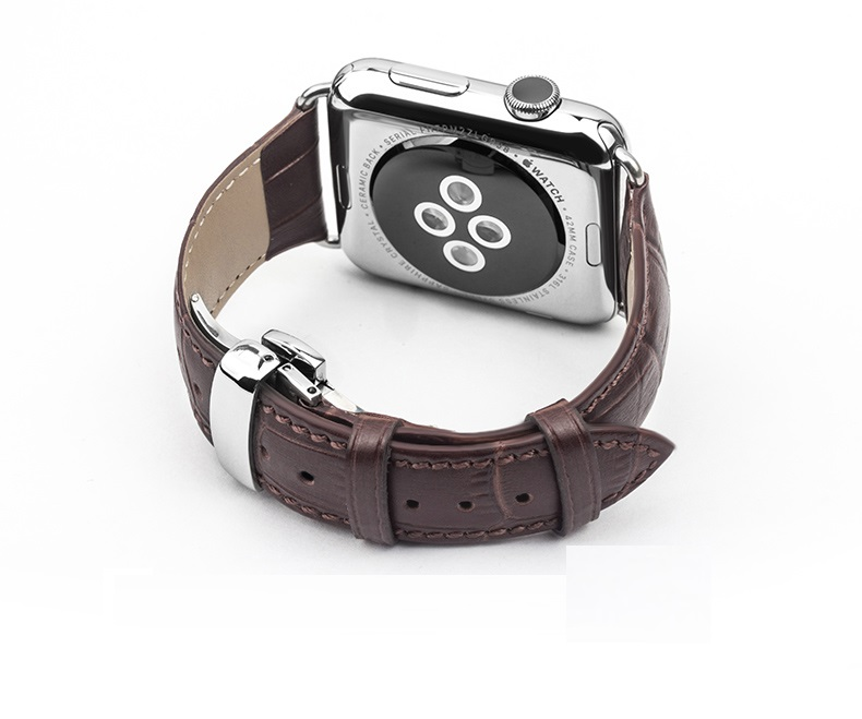 GOOSUU 2016  Luxury For Apple Watch Band Stainless Steel With Metal Adapter Genuine Leather For iwatch Watchbands 38mm 42mm