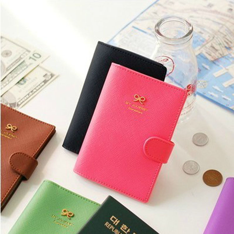 Free Shipping Sweet Bow Leather Blocking Passport Holders PU Hasp Card & ID Holders 4 Color 14*10.5 cm 029(China (Mainland))