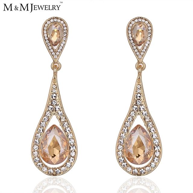 Champagne cristal Waterdrop 14 k banhado a ouro jóias para mulheres de longo brincos EH506