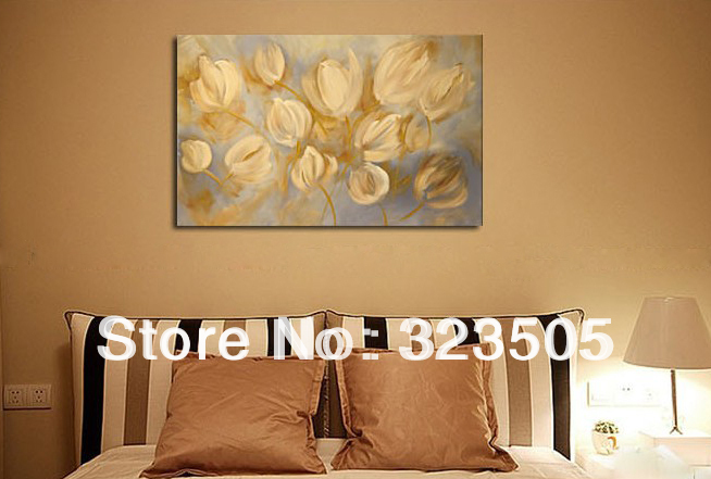 large canvas wall art modern abstract lily wall handmade picture oil painting for sale living. Black Bedroom Furniture Sets. Home Design Ideas