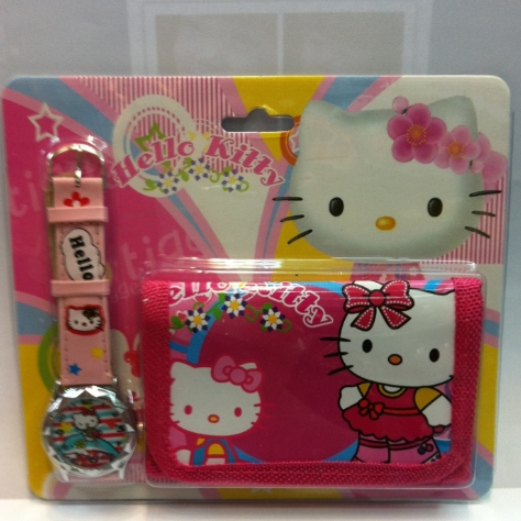 New Fashion Hello Kitty girl's wallet watches,kids cute Children's cartoon watches & purses girl wristwatches Christmas gift(China (Mainland))