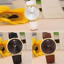 Sy-35054 genuino oro banda de cuero de cuarzo analógico Display reloj marca de lujo de negocios reloj Casual