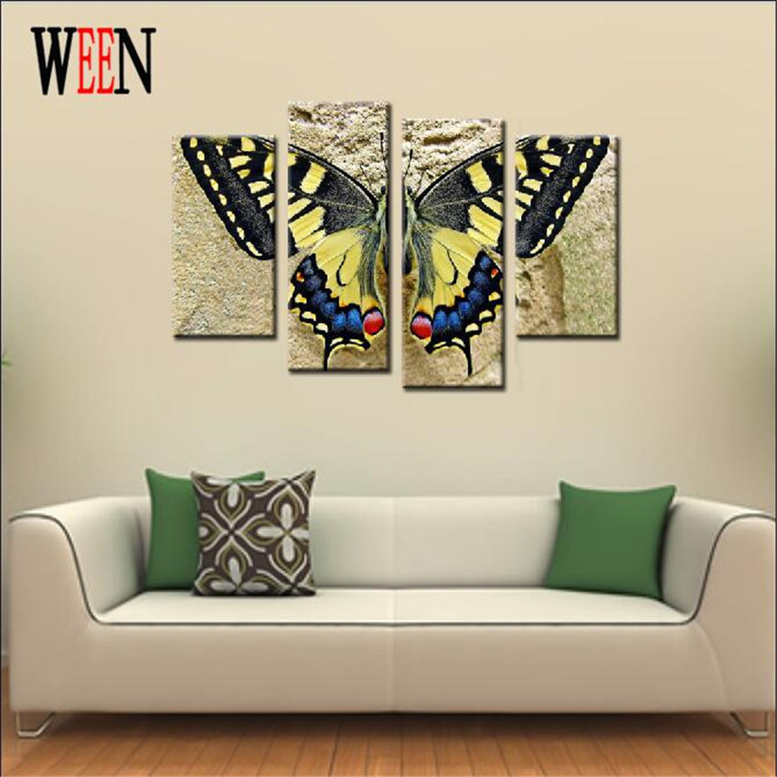 4 panels yellow butterfly print canvas printings modern for 4 home decor