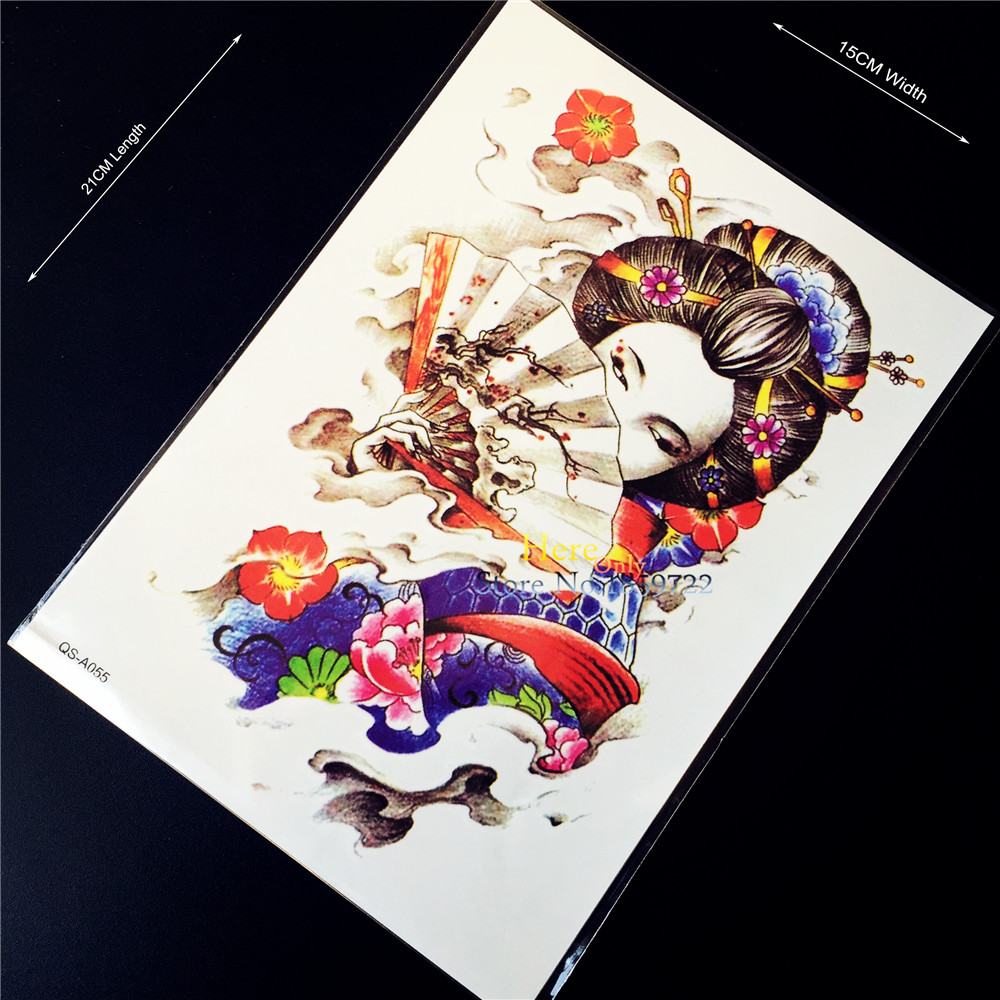 1PC Large 3D Armband Fake Water Transfer Temporary Tattoo Sticker Men H-A55 Japan Geisha Girl Body Art Arm Chest Shoulder Women(China (Mainland))