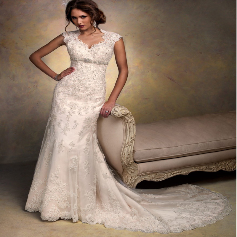 Buy cap sleeves open back lace wedding for Wedding dresses with sleeves for sale