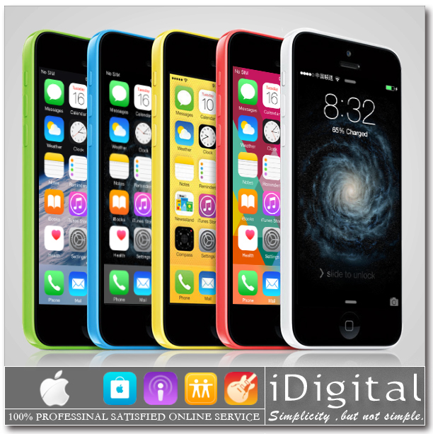"Original Apple iPhone 5C Mobile Phone Unlocked 32GB Dual-Core IOS 8 4.0"" IPS 1GB-RAM 8MP 1080P GPS WIFI 3G WCDMA Free Gift Cover(China (Mainland))"