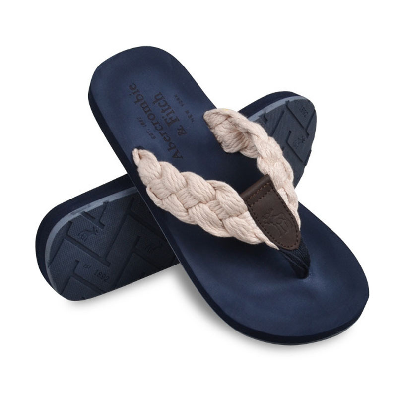 Men's Flip Flops Summer Style Flax Casual Mens Beach Sandals Solid Slip Shoes Men Sandalias ASM116 - Upper Class For store