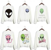 New Design Funny Alien Series Printed Sweatshirts Harajuku Punk Style White Feminine Sudaderas Women Sports Cute Youth Pullovers(China (Mainland))
