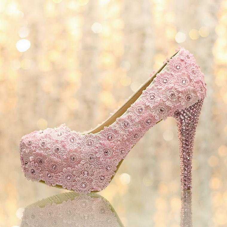 Wedding shoes rhinestone ultra high heels platform women's pink lace flower single bridal