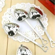 3 unids venta al por mayor venta de Hot Love Heart Shape acero inoxidable infusión de té cucharadita colador cuchara #ZH190(China (Mainland))