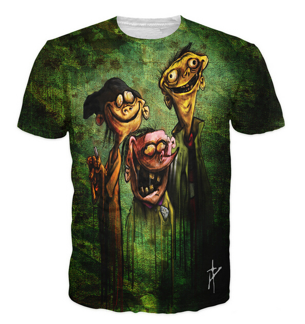 2015 New women/men 3d t shirt Ed Edd n Eddy on Bath Salts zombie print Harajuku tshirt camisetas plus size S-XXL Free shipping(China (Mainland))