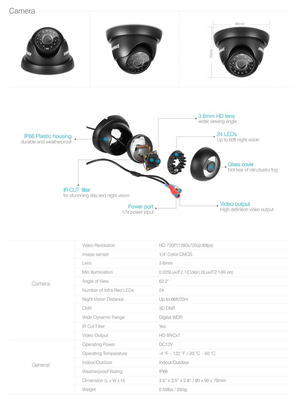 ANNKE 8CH 4in1 TVI DVR 6 PCS 1200TVL IR Weatherproof