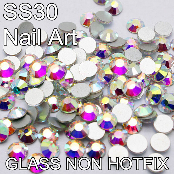 Machine Cut Glass Hot Fix Stones Flatback 6mm SS30 288pcs Glue Fixed Non Hotfix Rhinestones(China (Mainland))