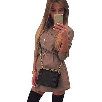 Женские Летние Vestidos С Длинным Рукавом Элегантный Тонкий Мини Рубашка Платья Без Пояса AT8
