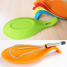 Silicone Heat Resistant Spoon Fork Mat Rest Utensil Spatula Holder Kitchen Tool  6Z9L(China (Mainland))