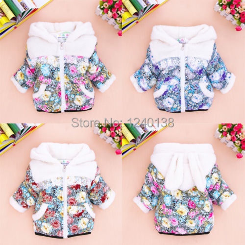 2014 new Baby Kids Girls Winter Clothes Outwear Jacket Snowsuit Coat Floral Rabbit Outer free shipping(China (Mainland))