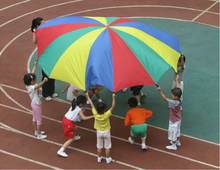 2m 78' Child Kid Sports Development Outdoor Rainbow Umbrella Parachute Toy Jump-sack Ballute Play Parachute(China (Mainland))