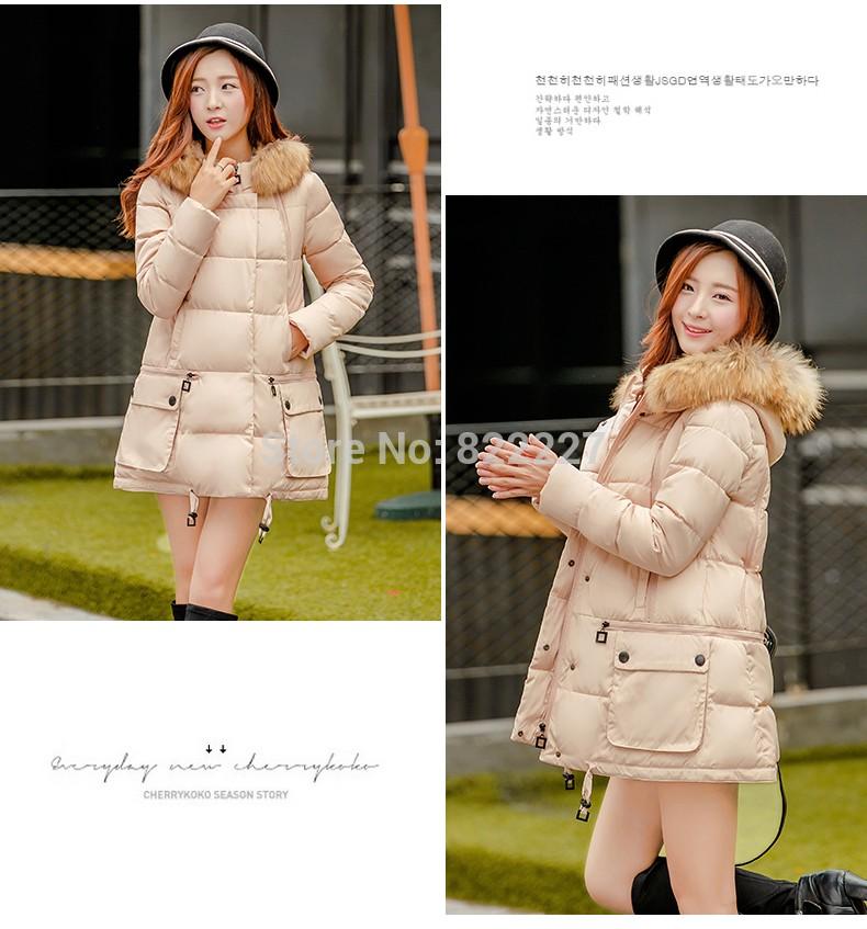 2016 Kış kadın Gerçek kürk kapüşonlu ceket wadded parka orta-uzun rahat aşağı pamuk-yastıklı ceket kadın kış ceket