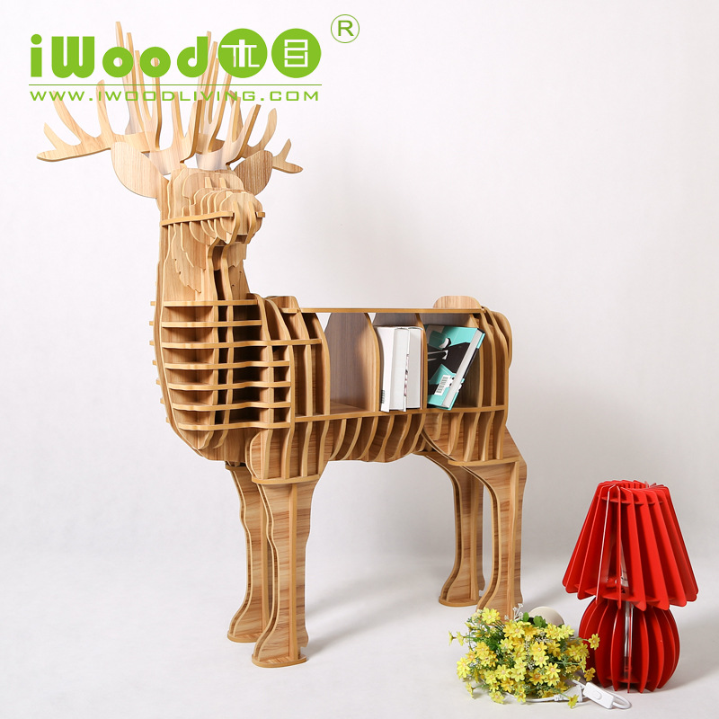 European Nordic creative home manufacturers Continental wooden ornaments Home Decoration simulation deer wood craft home decor(China (Mainland))