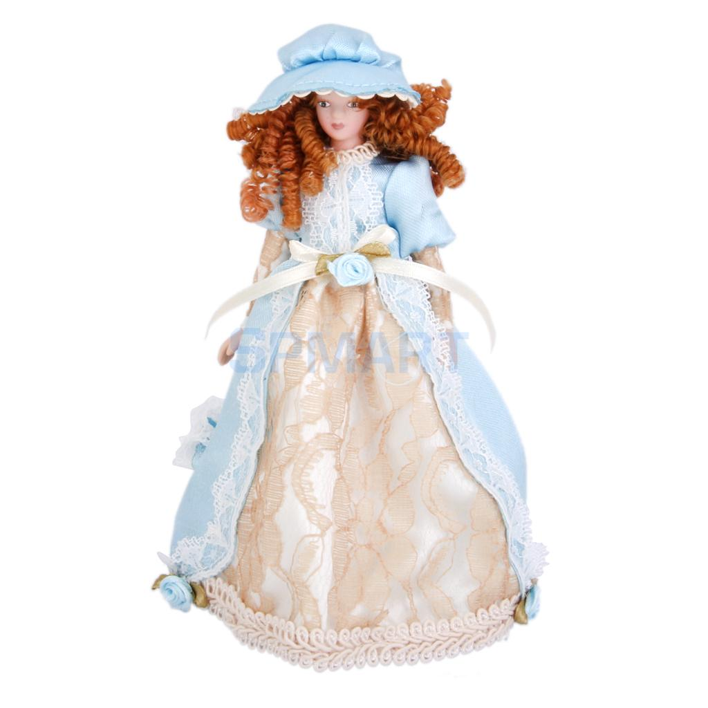Dollhouse Miniature Porcelain Dolls Victorian Lady In