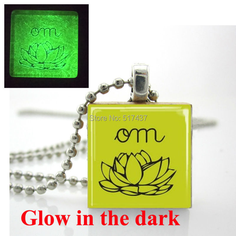 Glow in the dark Necklace ,Yoga Jewelry Scrabble Tile Pendant Om Lotus Blossom Lime Green with Ball Chain Glowing Jewelry(China (Mainland))
