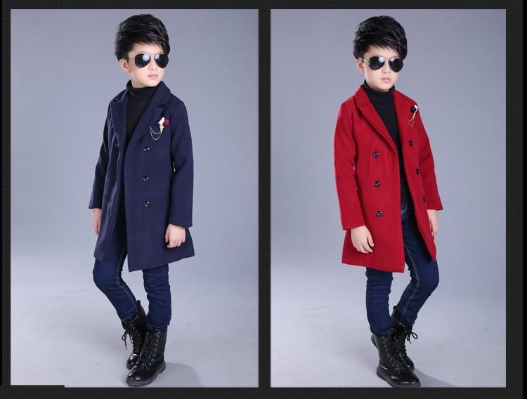 Скидки на Весна/осень мальчики куртки длинный отрезок двойной грудью дети верхняя одежда пальто с длинным рукавом отложным воротником мальчик шерстяные плащ