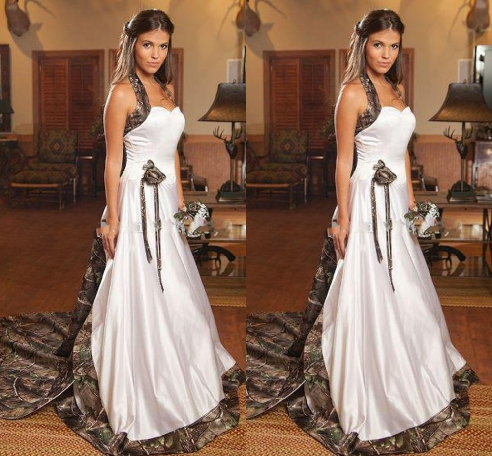 Camo wedding dresses 2015 long halter backless bridal for Forest wedding dress vintage