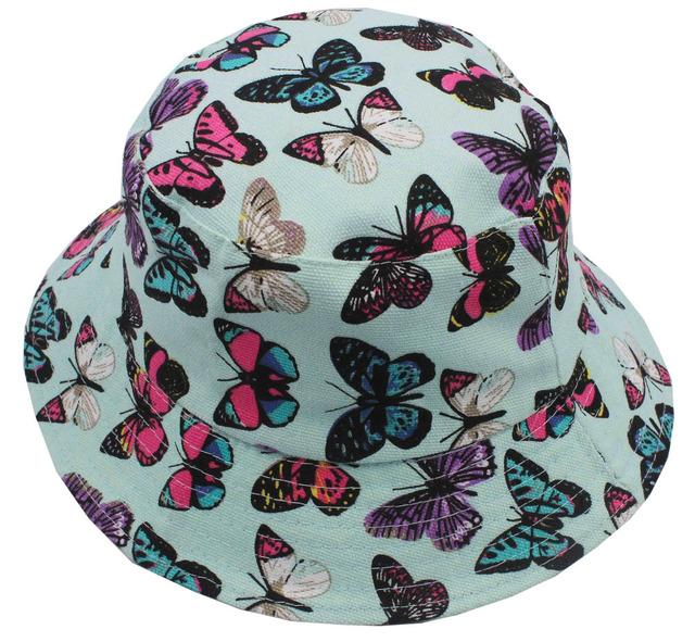 Бесплатная доставка 2016 новинка летом милые дети / дети светло-зеленый красочный-бабочка печать ведро шапки шапки для девочек