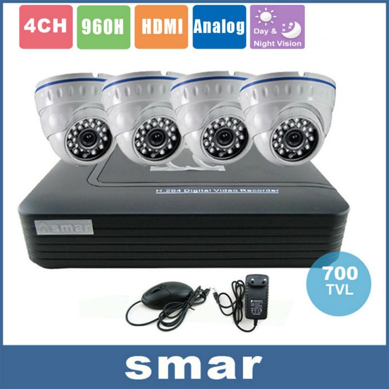 Home Security CCTV Camera System Standalone Kit 4 Channel CCTV HVR DVR NVR AHD DVR 4pcs 700TVL Infrared Indoor Dome Camera<br><br>Aliexpress