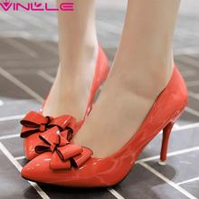 Orange Bow Tie Women Shoes Thin High Heel Lady Summer Black Dress Woman Pumps PU Pointed Toe Lady Wedding Shoe Large Size 42 43