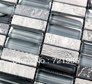 Design deco glass mosaic kitchen backsplash wall tiles SGMT030 stone glass mosaic backsplash tiles polished glass mosaic tile